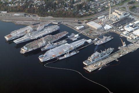 """Aerial Bremerton Shipyard November 2012"" by Jelson25 - Own work. Licensed under CC BY-SA 3.0 via Wikimedia Commons - http://commons.wikimedia.org/wiki/File:Aerial_Bremerton_Shipyard_November_2012.jpg#/media/File:Aerial_Bremerton_Shipyard_November_2012.jpg"