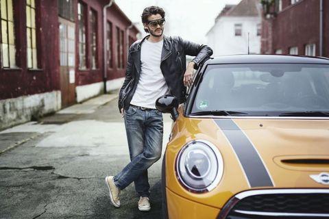 Automotive design, Jeans, Shirt, Jacket, Car, Outerwear, Grille, Denim, Mini cooper, Vehicle door,