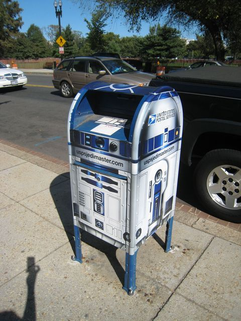 "In 2007, <a target=""_blank"" href=""http://postalmuseum.si.edu/collections/object-spotlight/r2d2.html"">some mailboxes got a droid-style overhaul</a>."