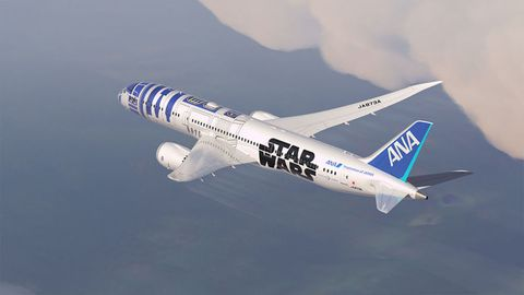 "<a target=""_blank"" href=""http://www.popularmechanics.com/flight/a15129/r2d2-jet-boeing-787/"">Japanese airline ANA has </a>decorated a Boeing 787 Dreamliner to look like R2-D2."
