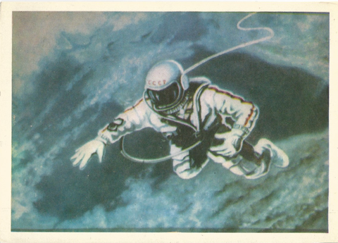 "<p>""The cosmonaut is the first in the history of humanity to leave a ship, entering in 'open' space. Below him our earth stretches out. Swimming/moving in a weightlessness at a height of 400 kilometers, the cosmonaut recognizes the outlines of the Black Sea known from maps, the Crimean peninsula, the Sea of Azov and the Caucasus mountains.""</p>"