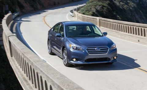 """The <a href=""""http://www.caranddriver.com/subaru/legacy"""" target=""""_blank"""">Subaru Legacy</a> is unique in its class, thanks to its standard all-wheel drive and a roomy interior. A 2.5-liter flat-four engine that makes 175 hp is standard&#x3B; a continuously variable transmission (CVT) is the only available transmission. There's an available 3.6-liter flat-six that cranks out 256 hp, and it also pairs with a CVT. With the 3.6, the Legacy offers decent performance and relatively dynamic handling. What it lacks in overall speed, it makes up for in all-weather versatility."""