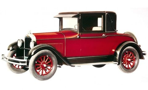 Here in all its modest, demure, subdued, low-key glory is the first Pontiac: the 1926 model 6-27, which was powered by a 3.0-liter six-cylinder engine rated at 40 horsepower. Novel features included smaller-diameter wheels with lower-pressure tires for a better ride and a harmonic balancer on the crank for smoother operation.