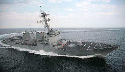 Watercraft, Naval ship, Water, Boat, Warship, Navy, Horizon, Destroyer, Naval architecture, Cruiser,