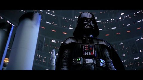 Darth vader, Supervillain, Fictional character, Personal protective equipment, Darkness, Space, Costume, Toy, Digital compositing, Fiction,