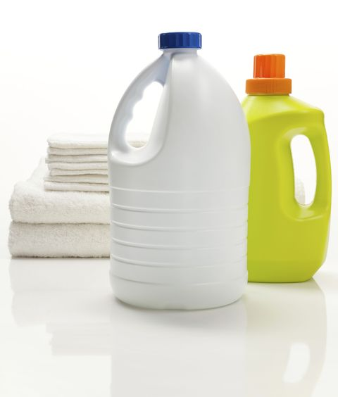Adding bleach to ammonia — or ammonia-containing products, like some window cleaners — can be seriously dangerous. When combined, they produce gas that can constrict breathing. The only thing you should mix bleach with is water.