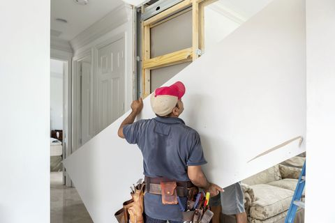A sheet of drywall, like a sheet of plywood, is stronger along its long axis. So put that knowledge to good use. If you need to cut a rectangle of drywall to fit a small area, for example, then cut it so that the rectangle's long side is along the sheet's long side.