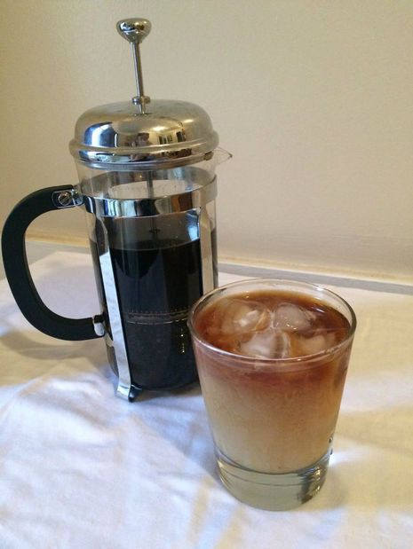 """If you like your iced coffee on the strong side, make your cold brew coffee in a french press.  Get the tutorial from <a target=""""_blank"""" href=""""http://www.instructables.com/id/French-Press-Cold-Brew-Coffee/"""">Instructables</a>."""