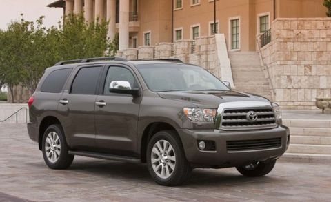 "<a href=""http://www.caranddriver.com/toyota/sequoia"" target=""_blank"">Toyota's Sequoia</a> offers eight-passenger seating with cavernous cargo space at a lower price than the upscale Land Cruiser. The sole engine is a 381-hp 5.7-liter V-8 with a maximum tow capacity of 7400 pounds. Multi-mode four-wheel drive with a limited-slip center differential handles the rough stuff or slick roads."
