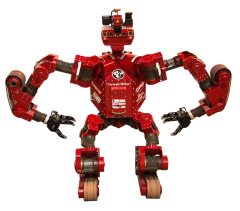 "This robot from Carnegie Mellon University, whose nickname is <a target=""_blank"" href=""http://www.nrec.ri.cmu.edu/projects/tartanrescue/"">CHIMP</a>, can roll on four legs or two legs, open doors, pick up smaller objects, and weld."