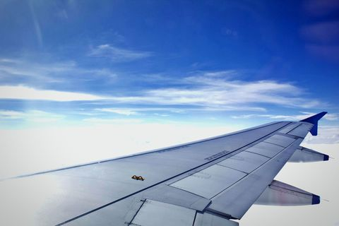 Sky, Air travel, Blue, Airline, Airplane, Wing, Cloud, Flap, Daytime, Flight,