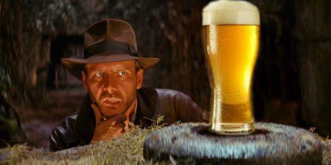 Beer, Mouth, Brown, Drink, Beer glass, Barware, Alcoholic beverage, Alcohol, Hat, Drinkware,