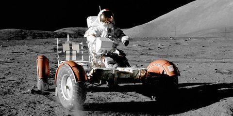 Apollo 17 astronaut Eugene A. Cernan in the lunar rover, 1972