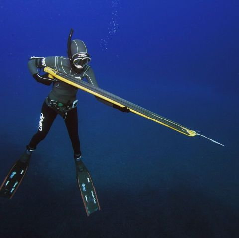 "A technique that's been in use in one form or another for millennia, spearfishing gets its name from a gun-shaped tool that slings a short, sharpened spear at fish from a distance great enough to ensure the prey doesn't see it coming. The method requires a significant amount of strength, agility and endurance, as fisherman have to stay underwater for prolonged periods while hunting. Though spearfishing isn't often in the media, French-Canadian woman<a target=""_blank"" href=""https://instagram.com/valentinethomas/"">Valentine Thomas</a> recently made news as one of the more badass spearfishermen around."