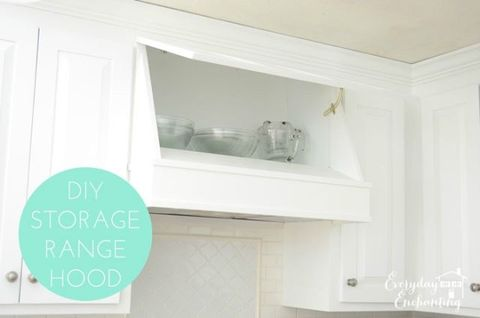 "If you crave an architectural range hood, but don't want to lose your over-stove cabinet space, this DIY project is the perfect solution.  <a href=""http://www.everydayenchanting.com/diy-storage-range-hood/""><em>See more at Everyday Enchanting »</em></a>"