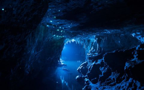Blue, Sea cave, Darkness, Azure, Formation, Geology, Electric blue, World, Underground lake, Ice cave,