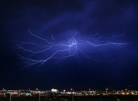 Blue, Atmosphere, Night, Photograph, Atmospheric phenomenon, Storm, City, Line, Thunderstorm, Thunder,