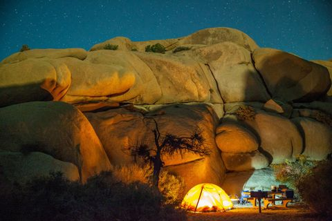 "<p>Located toward the western border of California's renowned Joshua Tree National Park, <a target=""_blank"" href=""http://www.hipcamp.com/ca/deserts/joshua-tree/jumbo-rocks-campground"">Jumbo Rocks Campground</a> is just a short hike from some of the area's coolest rock formations. With just 124 first-come, first-served sites you'll have to arrive early, as Los Angeles is just over 2 hours away.</p>"