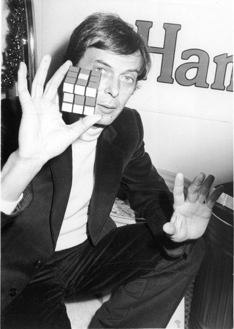 Erno Rubik with Rubik's Cube