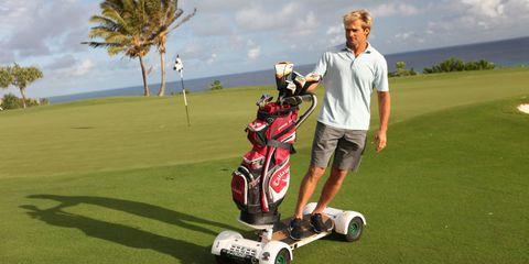 Human, Automotive design, Shoe, Golf bag, Ball game, Golf course, Mammal, Golf club, Golf equipment, Plain,