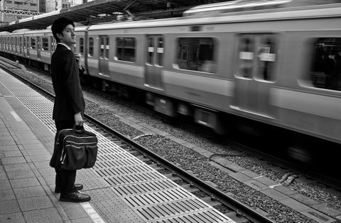 Transport, Mode of transport, Railway, Track, Monochrome, Rolling stock, Standing, White, Monochrome photography, Train station,