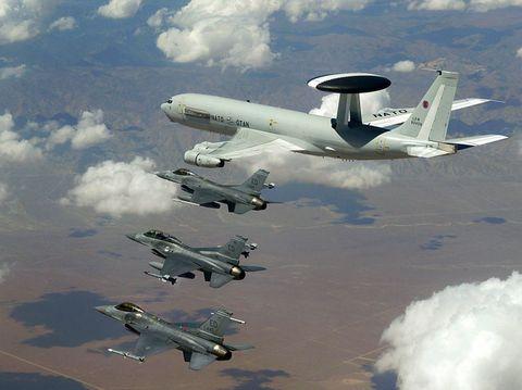 Airplane, Aircraft, Aviation, Flight, Boeing e-3 sentry, Air travel, Aerospace engineering, Cumulus, Aircraft engine, Aerospace manufacturer,
