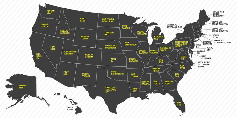 The Unofficial State Cars Of America - Ford vs chevy us map
