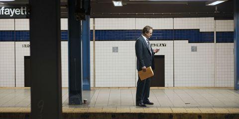 Standing, Suit trousers, Suit, Blazer, Snapshot, Street fashion, White-collar worker, Pocket, Tile, Businessperson,