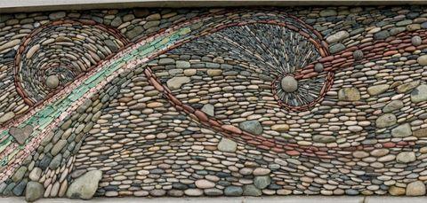 Art, Pebble, Circle, Cobblestone, Visual arts, Environmental art, Building material, Brickwork,