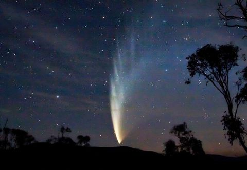 Nature, Night, Natural landscape, Natural environment, Green, Atmosphere, Star, Astronomical object, Atmospheric phenomenon, Landscape,