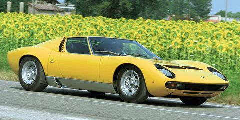"<p>The Miura had a 4.0 liter V12 that made 430 bhp and was named after a breed of particularly <a href=""http://www.carmagazine.co.uk/features/car-culture/a-load-of-bulls-a-potted-history-of-lamborghini-names/"">fierce and powerful Spanish fighting bulls</a> -- a fitting name for one of Lamborghini's most iconic cars to date.</p>"