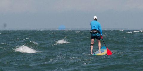 Surfing Equipment, Water, Recreation, Surfboard, Fluid, Standing, Surface water sports, Mammal, Liquid, Outdoor recreation,