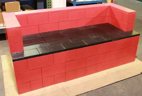 Property, Red, Rectangle, Concrete, Brick, Maroon, Composite material, Gas, Shipping box, Material property,
