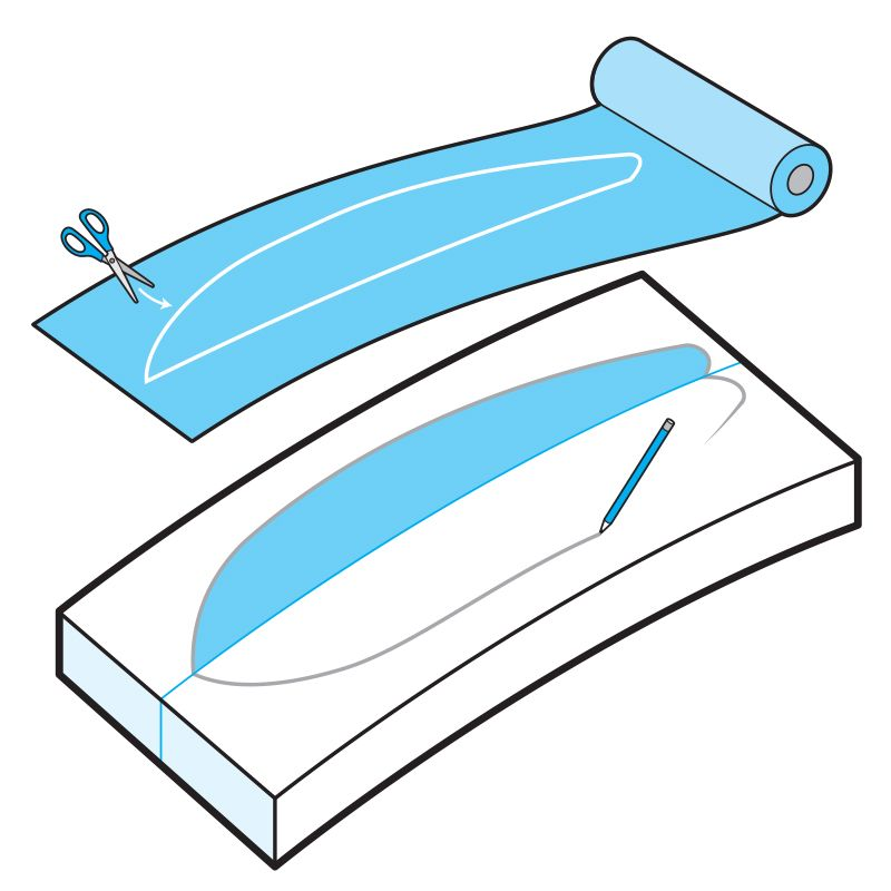 <p>Building a paddleboard is simple in theory, but can be complicated in practice. These are the general steps, but plan to do some research on the shape you like and the tools you want to use before you get started. </p><p>Trace half of a borrowed SUP or printed template onto roofing felt. You'll flip the felt when you transfer the shape onto the foam. </p>