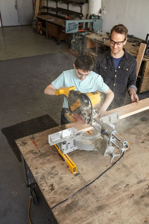 <p>Crosscut the 2 x 6 to make the skateboard (E). Round the front edges and sand the corners.</p>