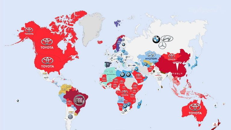 A world map of the most googled car brands brazil really likes fiats apparently gumiabroncs Image collections