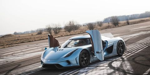 """<p>Perhaps the most fascinating upcoming hypercar is the Koenigsegg Regera because <a href=""""http://www.roadandtrack.com/car-shows/geneva-auto-show/news/a25167/koenigsegg-regera-hypercar-first-look-details/"""">it has no gearbox</a>. Instead, the 5.0 liter twin-turbo V8 sends 1100 bhp to three electric motors. The first is attached to the front of the crankshaft and drives power to both the battery and the two motors that drive the rear wheels. The Regera has a full-electric range of about 22 miles and a total power output of 1,500 bhp. The car utilizes regenerative braking to cut down the charge time.</p>"""