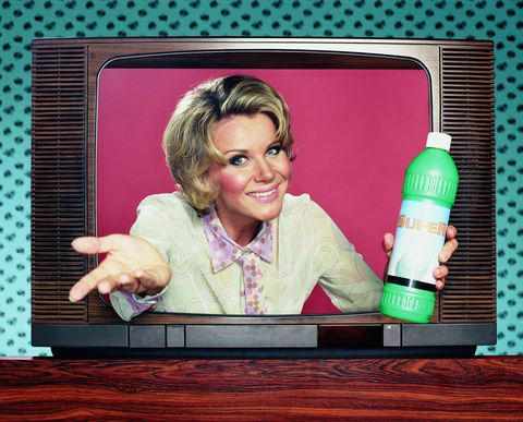 Pink, Plastic bottle, Tooth, Rectangle, Bottle, Display device, Plastic, Output device, Humour, Television set,