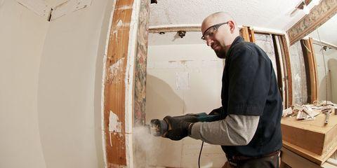 Wall, Paint, Plaster, Tradesman, Facial hair, Building material, Plywood,