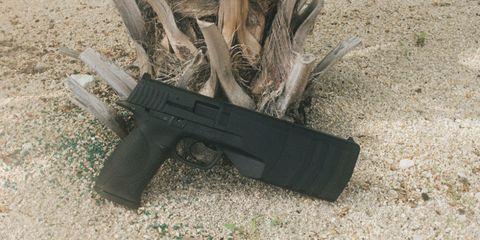 Gun, Firearm, Trigger, Gun accessory, Gun barrel, Air gun, Tan, Shooting, Airsoft gun, Ammunition,