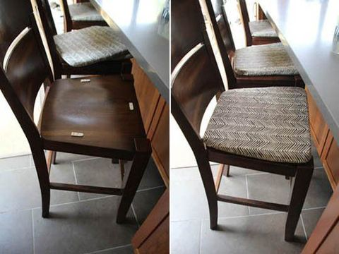 """<p>Seat cushions sliding off? Don't worry: You can use adhesive strips to keep 'em on your chair or barstool, and they'll still be easy to remove when they need a cleaning.</p><p><a href=""""http://www.pepperdesignblog.com/2011/09/06/kitchen-update-a-sticky-situation-a-neat-feature/"""" target=""""_blank""""><em>Get the tutorial at Pepper Design Blog »</em></a></p>"""