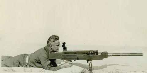 Shooting, Shotgun, Machine gun, Gun barrel, Air gun, Vintage clothing, Optical instrument,