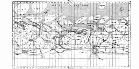 "A map of the Martian ""canali"" by Giovanni Schiaparelli."