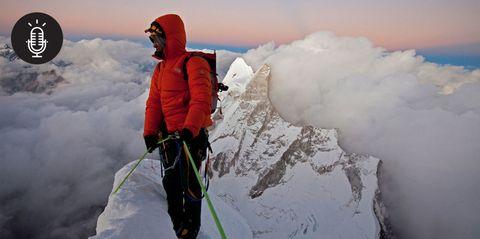 Winter, Mountaineer, Freezing, Glacial landform, Adventure, Outdoor recreation, Mountaineering, Ice cap, Snow, Slope,