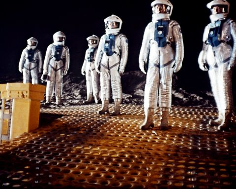Astronauts at a space station in a scene from the film '2001: A Space Odyssey', 1968.