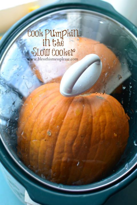 """<p>Instead of buying canned pumpkin at the supermarket, put a whole pumpkin in your slow cooker to create your own puree. Your guests will be impressed at how fresh your <a href=""""http://www.countryliving.com/food-drinks/g620/pumpkin-dessert-recipes/"""" target=""""_blank"""">sweet</a> and <a href=""""http://www.countryliving.com/food-drinks/g619/our-best-pumpkin-recipes-1008/"""" target=""""_blank"""">savory pumpkin recipes</a> taste.</p><p>Get the recipe at <a href=""""http://www.blessthismessplease.com/2014/10/best-easiest-way-cook-pumpkin.html"""" target=""""_blank"""">Bless This Mess</a>. </p>"""