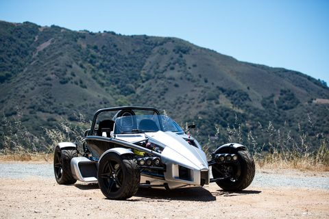 "<p>Thanks to its low weight, no matter what form it's in, the Ariel Atom is incredibly fast. If you aren't careful, it will tear your face off. If you're the right mix of brave and crazy, you can opt for the Atom 500 with a 500-horsepower V8 and get started going incredibly fast. <a href=""http://www.roadandtrack.com/new-cars/first-drives/reviews/a26436/ariel-atom-3s-test/"">Even the Atom 3S</a>, which has a measly 360 horsepower, is a bit crazy.</p>"