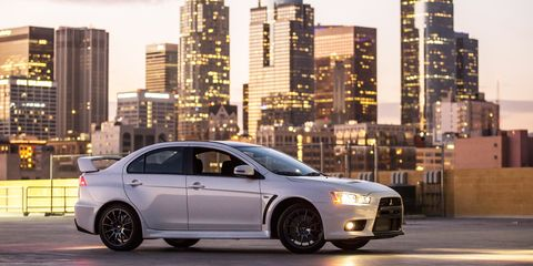 <p>The Lancer Evo is leaving us soon, but for now, it's still a car with one of the most power-dense engines on the market. Its 2.0-liter four-cylinder is turbocharged up to 291 horsepower, giving it a specific output of 145.5 horsepower per liter.</p>
