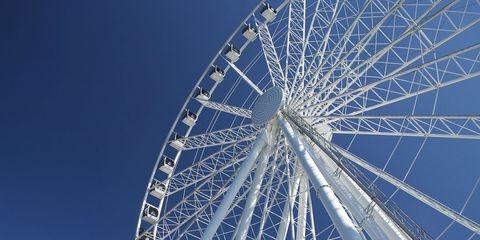 Nature, Ferris wheel, Blue, Daytime, Photograph, Line, Sunlight, Colorfulness, Beauty, Light,