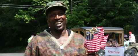 Flag, Jewellery, Happy, Flag of the united states, Headgear, Facial hair, Necklace, Flag Day (USA), Beard, Holiday,